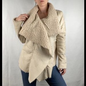 Others Follow Faux Fur Asymmetrical Tan Coat